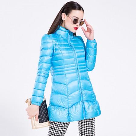 迪欧达 女士糖果色A版羽绒服·蓝色