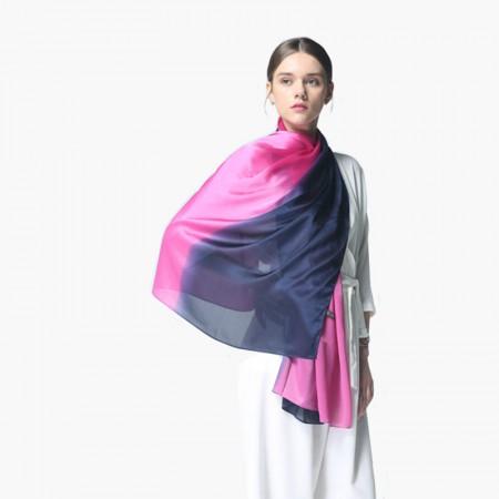 时间煮雨 渐变绉缎围巾·披肩·粉蓝渐变