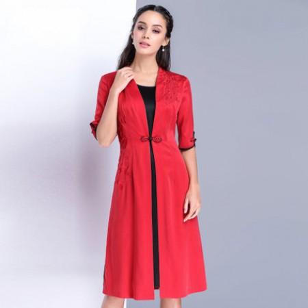 漫丽依 真丝复古刺绣连衣裙·大红色