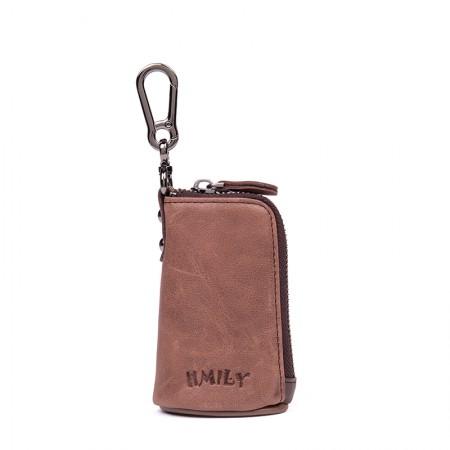 海谜璃(HMILY)头层牛皮男女通用钥匙包挂腰零钱包复古实用情侣款钥匙包H6991·棕色