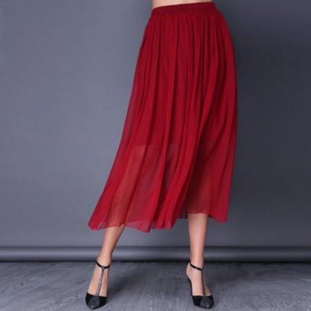 漫丽依 真丝纯色百搭半身裙·红色