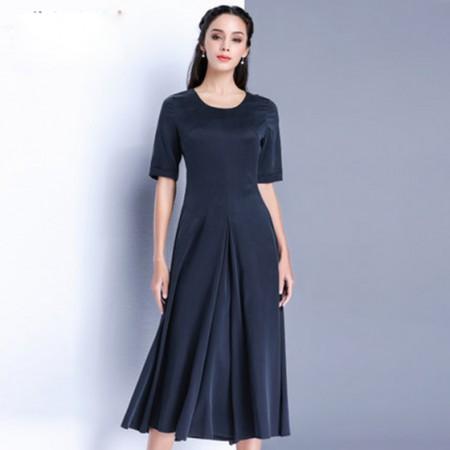 漫丽依 真丝纯色圆领显瘦连衣裙·藏青