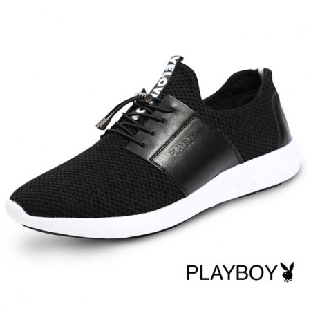 花花公子男鞋夏季鞋子男休闲鞋男士网鞋·黑色