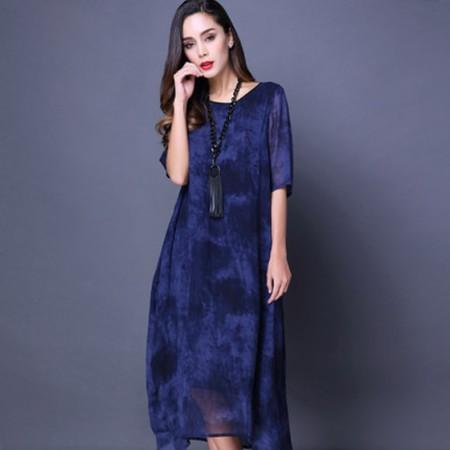 漫丽依 真丝印花抽象图案连衣裙·蓝色