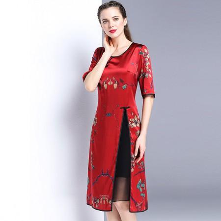 漫丽依 真丝中国风圆领开叉连衣裙·梅花款