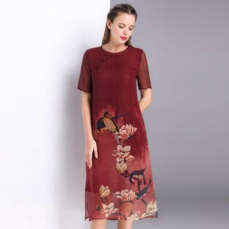 漫丽依 真丝民族中国风圆领连衣裙·红色