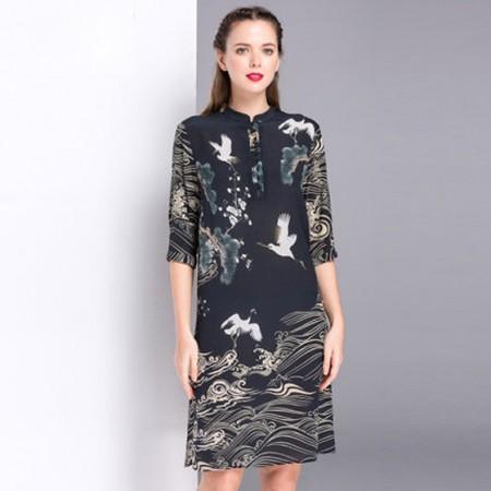 漫丽依 真丝复古立领七分袖连衣裙·黑色