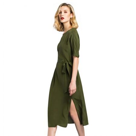 今升 欧美纯色刺绣真丝欧根缎连衣裙·军绿色