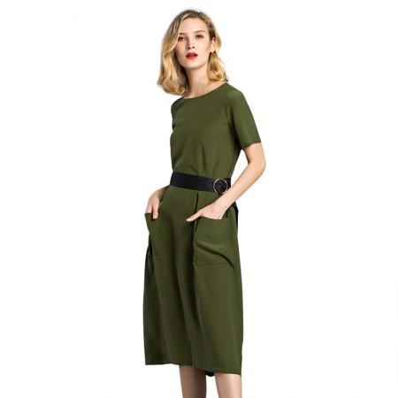 今升 圆领中腰短袖系带真丝连衣裙·军绿色
