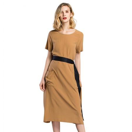 今升 圆领中腰短袖系带真丝连衣裙·驼色