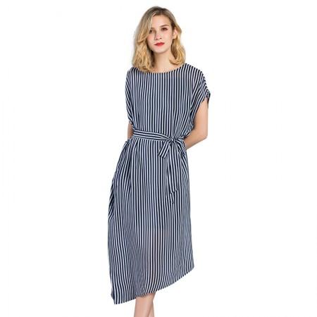 今升 欧美一字肩条纹真丝连衣裙·蓝条纹
