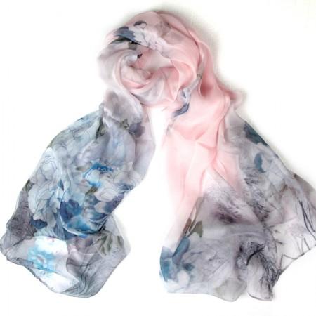丁摩 桑蚕丝沙滩巾印花真丝披肩围巾W012·蓝色牡丹
