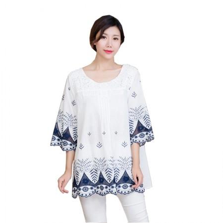衣唯风尚民族风棉印花宽松大码衬衣中长款mm0001101·白色