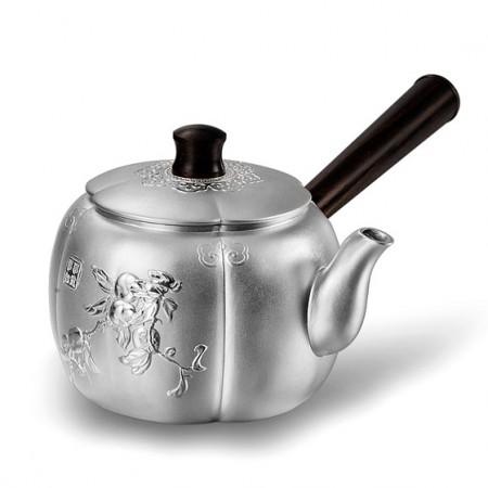 老冯记足银万事如意茶壶带木柄壶