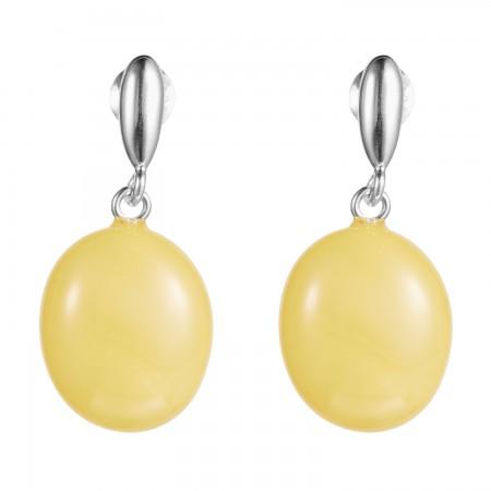【丹麦设计师】 银镶椭圆形蜜蜡耳饰·棕黄
