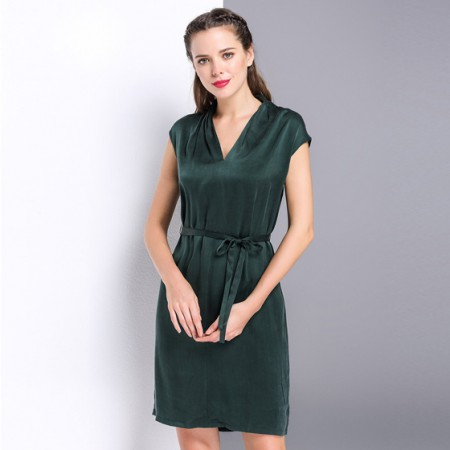 漫丽依 真丝V领收腰气质连衣裙·墨绿
