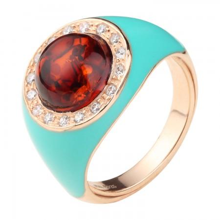 【丹麦设计师】 珐琅瓷系列银镶圆形血珀戒指·棕红