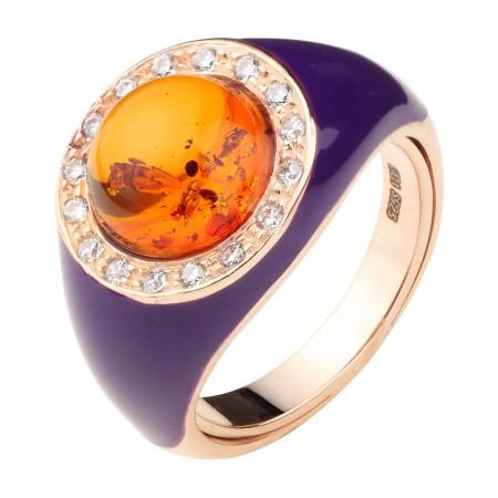 【丹麦设计师】 珐琅瓷系列银镶圆形金珀戒指·棕黄