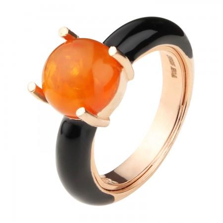 【丹麦设计师】 珐琅瓷系列银镶圆形蜜蜡戒指·棕黄