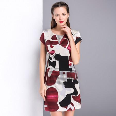 漫丽依 真丝OL风短款圆领一步裙·红色