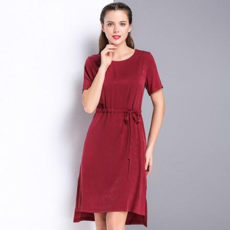 漫丽依 真丝高腰系带连衣裙·红色
