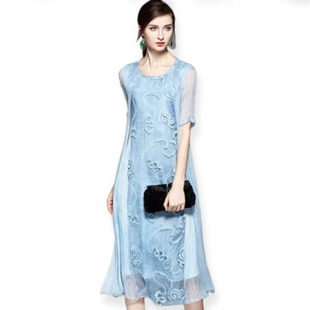 丝朵之丽 真丝立体绣花假两件连衣裙·蓝色