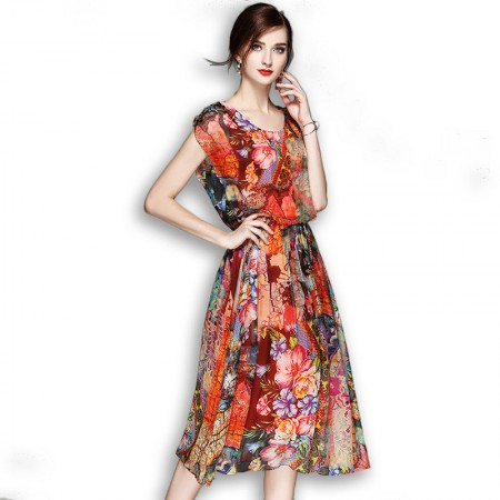 丝朵之丽 真丝印花大裙摆连衣裙·红色