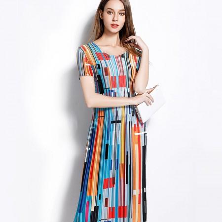 丝朵之丽 设计感褶皱印花连衣裙·图片色