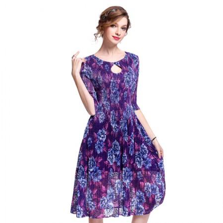 丝朵之丽 一粒扣蕾丝褶皱印花连衣裙·紫色