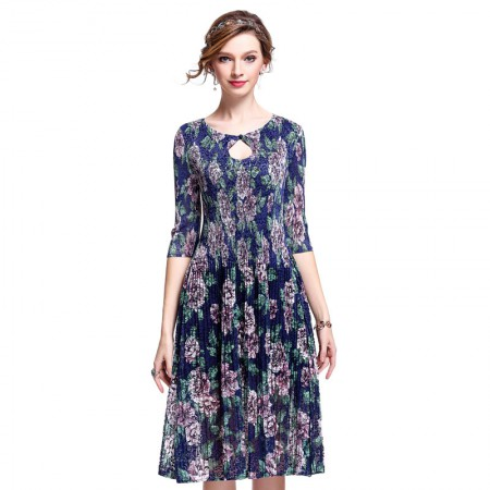 丝朵之丽 一粒扣蕾丝褶皱印花连衣裙·藏青色