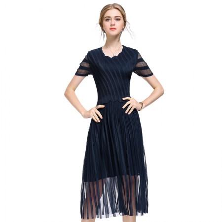 丝朵之丽  条纹显瘦褶皱网纱连衣裙·藏青色