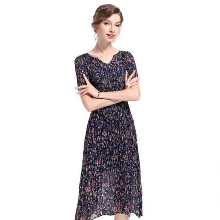 丝朵之丽 百褶显瘦修身碎花连衣裙·藏青色