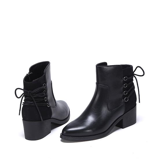 达芙妮尖头后系带侧拉链粗跟女短靴·黑色