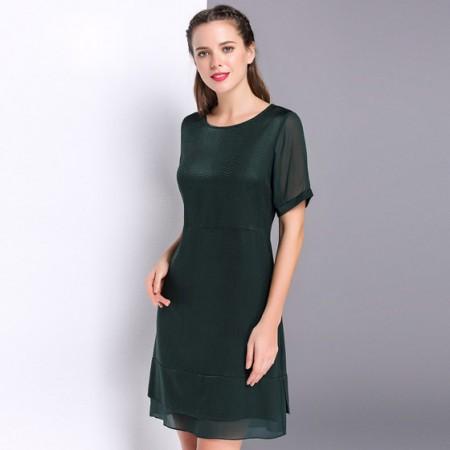 漫丽依 真丝圆领时尚一步裙·墨绿
