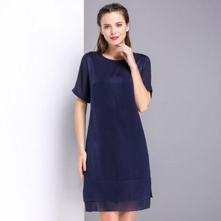 漫丽依 真丝圆领时尚一步裙·蓝色