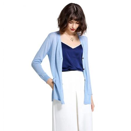Mareunrols纯色开衫薄款针织外套·天蓝