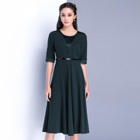 漫丽依 真丝秋季端庄中袖长裙(赠腰带)·墨绿
