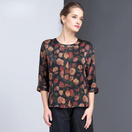 漫丽依 真丝秋季圆领显瘦七分袖印花衬衣·黑花