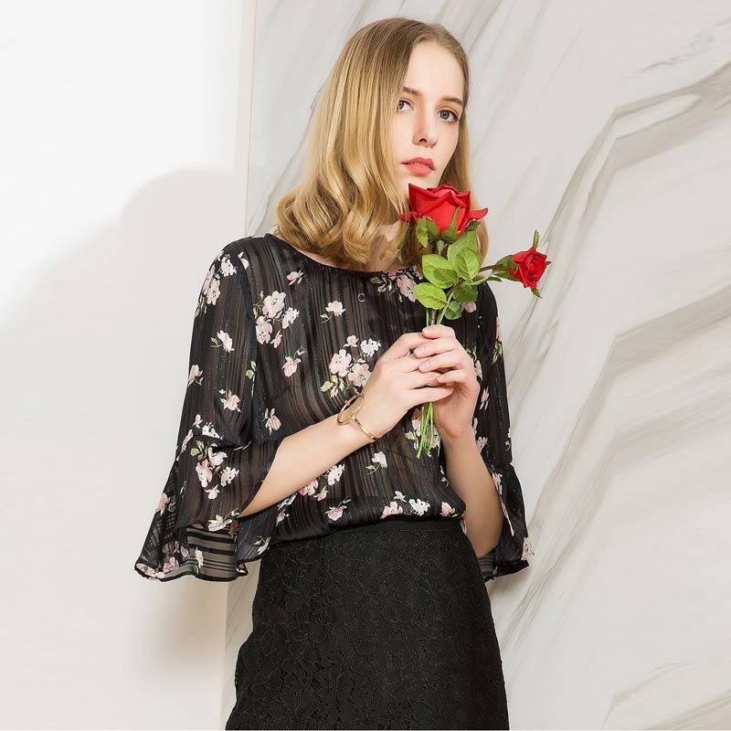 欧力丝(OLiSi)气质印花优雅喇叭袖上衣·黑多色