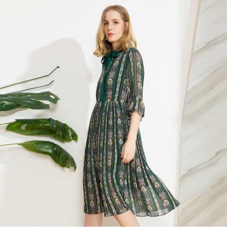 欧力丝(OLiSi)优雅气质印花系带领大摆连衣裙·绿多色