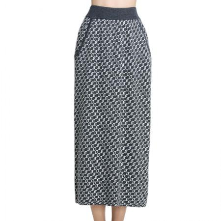Mareunrols时尚气质黑灰色提花针织半裙·灰色