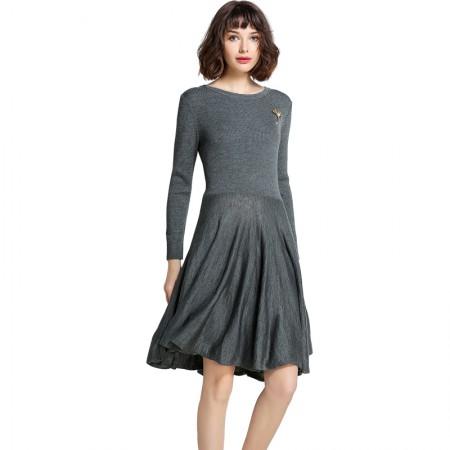 Mareunrols纯色圆领长袖大裙摆针织连衣裙·灰色