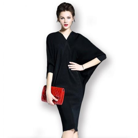 丝朵之丽 五分蝙蝠袖宽松显瘦褶皱连衣裙·黑色