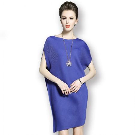丝朵之丽 纯色宽松简约风褶皱连衣裙·蓝色