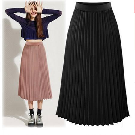 多多的世界高腰半身裙雪纺百褶裙DD1721·黑色