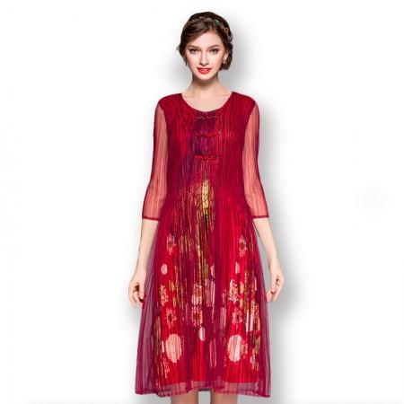 丝朵之丽 复古风假两件褶皱连衣裙·红色