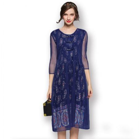 丝朵之丽 复古风假两件褶皱连衣裙·藏青色
