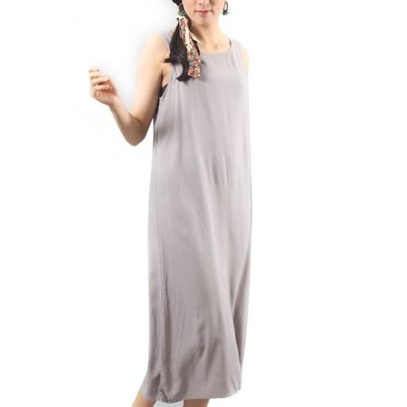 岐氏姐妹 棉麻吊带连衣裙0312·浅灰