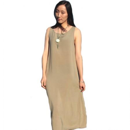 岐氏姐妹 棉麻吊带连衣裙0312·浅绿