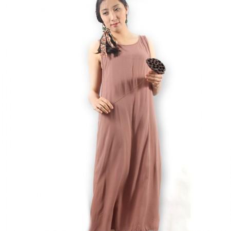 岐氏姐妹 棉麻吊带连衣裙0312·浅咖